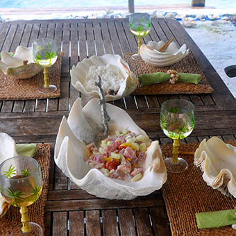 Tahitian raw fish with coconut milk